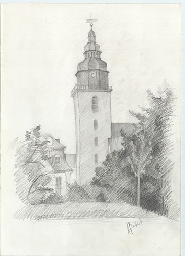 Trinitatis church, pencil