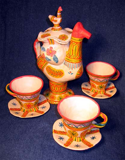 Folk art, Filimonovo toy, Tea-set