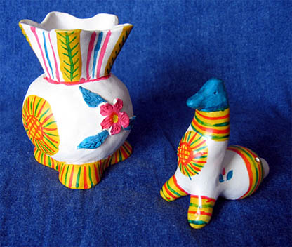 Folk art, Filimonovo toy,  Vase and hen