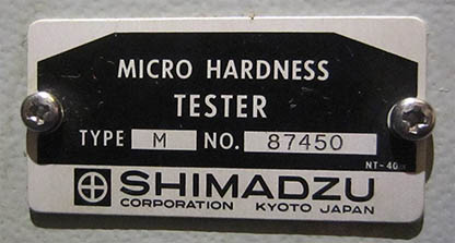 Shimadzu Vickers Microhardness Tester Type M, sign